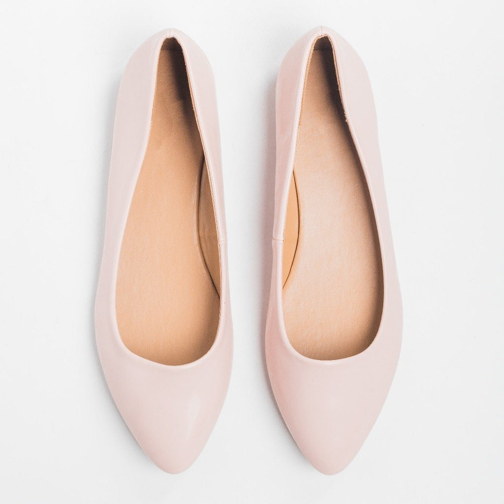 Womens Rose Pink Almond Toe Flats - Bella Marie