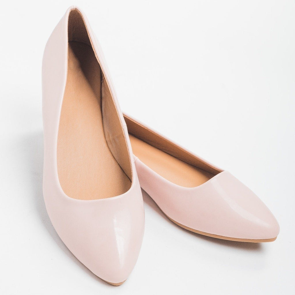 Womens Rose Pink Almond Toe Flats - Bella Marie - Rose Pink / 5