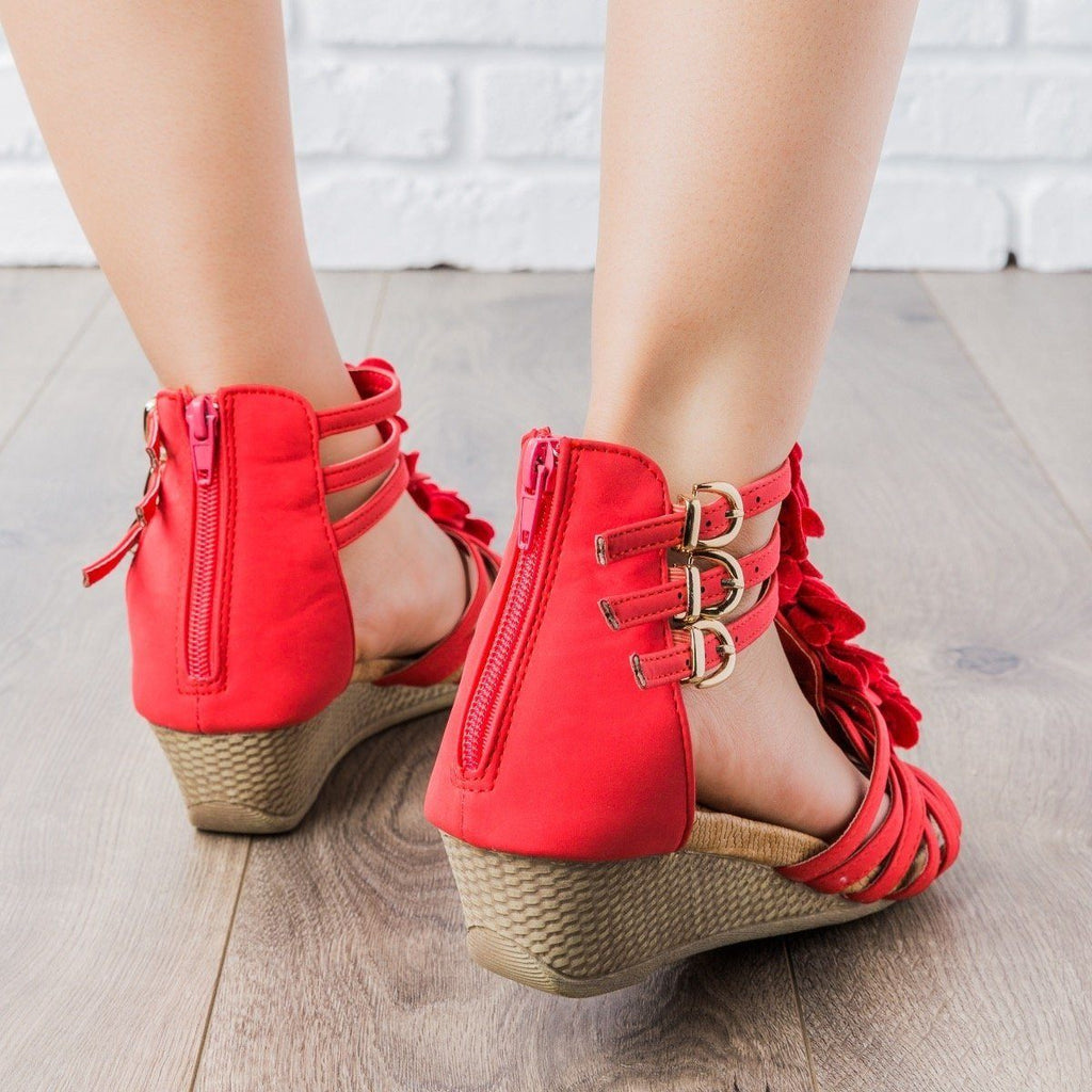 Womens Rosey Strappy Wedges - Anna Shoes
