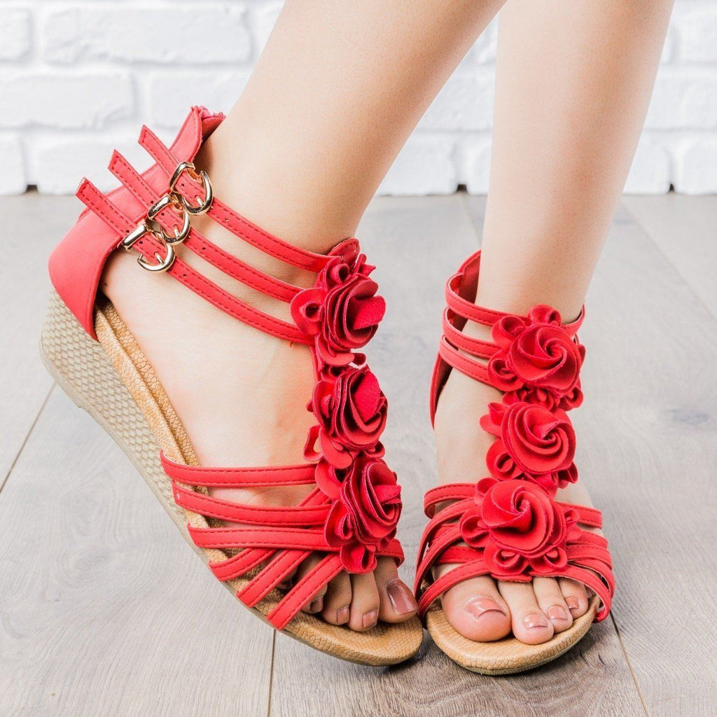 Womens Rosey Strappy Wedges - Anna Shoes - Red / 5