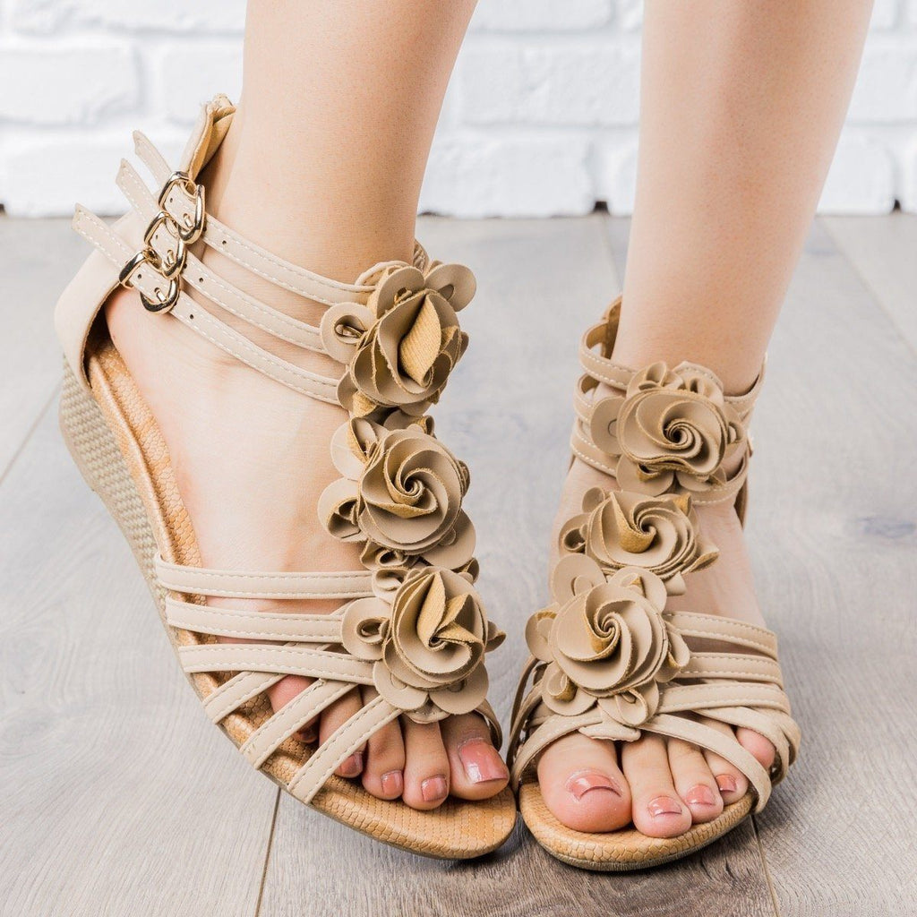 Womens Rosey Strappy Wedges - Anna Shoes - Taupe / 5