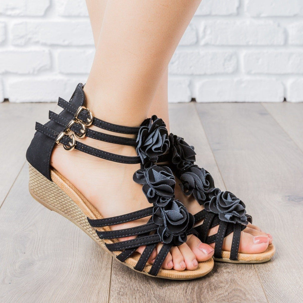 Womens Rosey Strappy Wedges - Anna Shoes - Black / 5.5