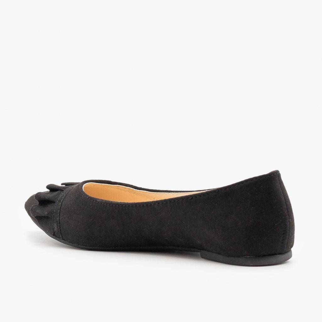 Womens Ruffle Accented Ballet Flats - Qupid Shoes