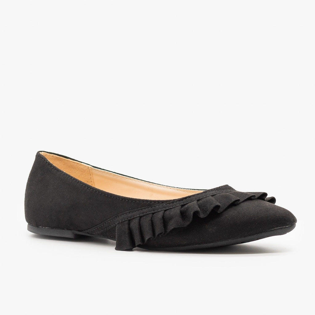 Womens Ruffle Accented Ballet Flats - Qupid Shoes - Black / 5