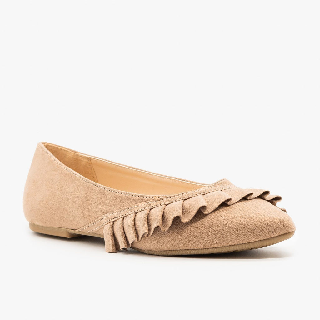 Womens Ruffle Accented Ballet Flats - Qupid Shoes - Taupe / 5