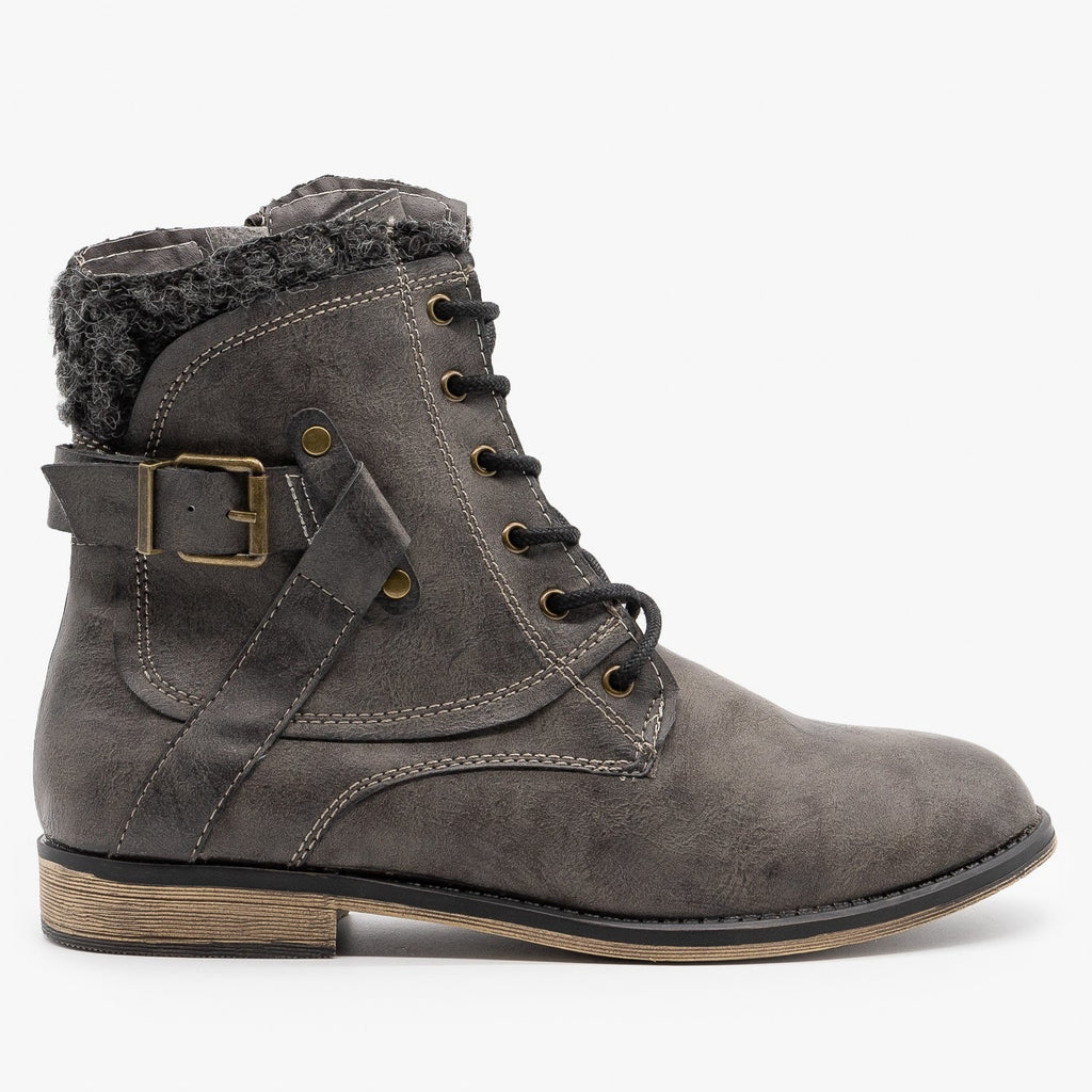 Womens Rugged Buckled Booties - Unbranded/Generic - Gray / 5