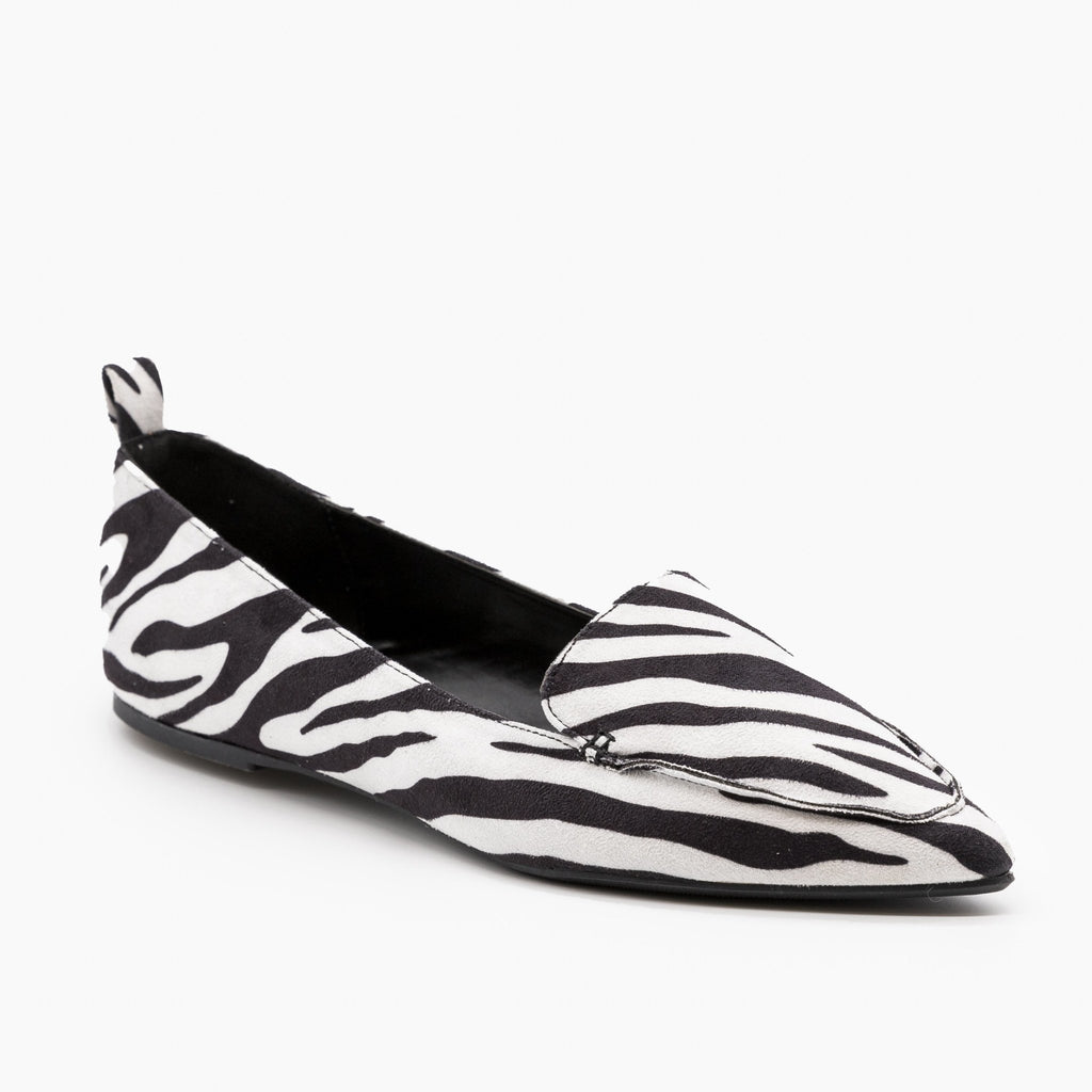 Womens Animal Print Loafer Flats - Wild Diva Shoes - Zebra / 5