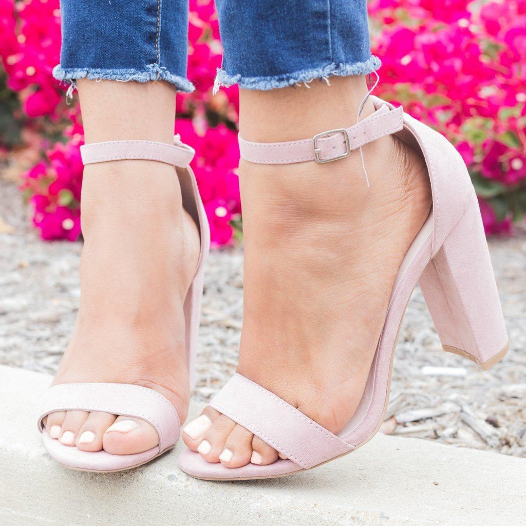 Womens Sassy Ankle Strap Chunky Heels - Qupid Shoes - Desert Rose / 5