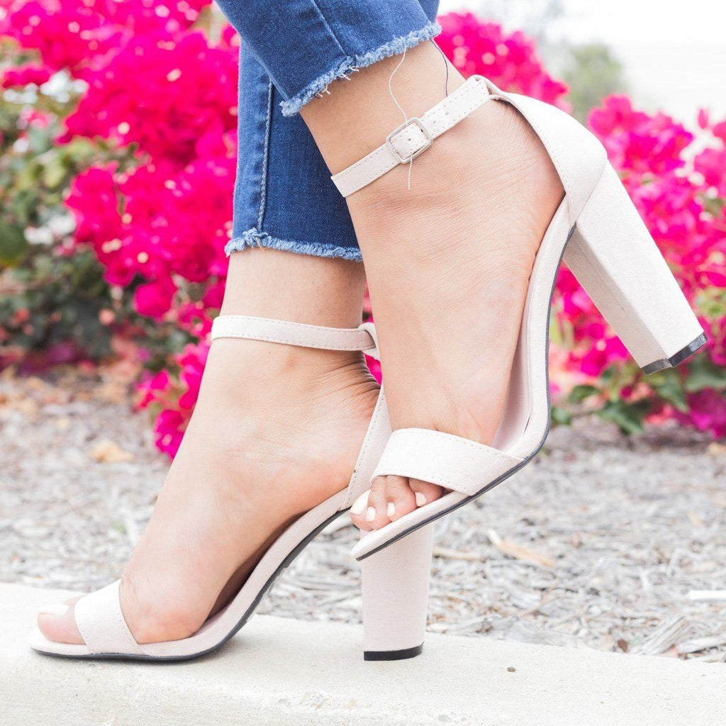 Womens Sassy Ankle Strap Chunky Heels - Qupid Shoes - Nude / 5