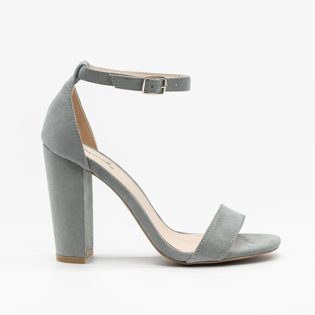 Womens Sassy Ankle Strap Chunky Heels - Qupid Shoes - Sea Grey / 5