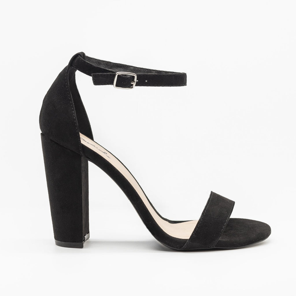 Womens Sassy Ankle Strap Chunky Heels - Qupid Shoes - Black / 5