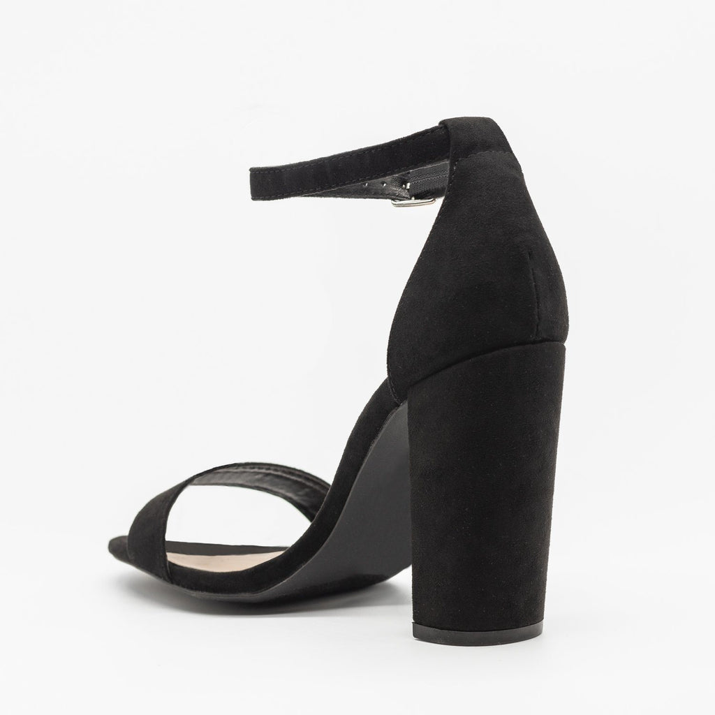 Womens Sassy Ankle Strap Chunky Heels - Qupid Shoes