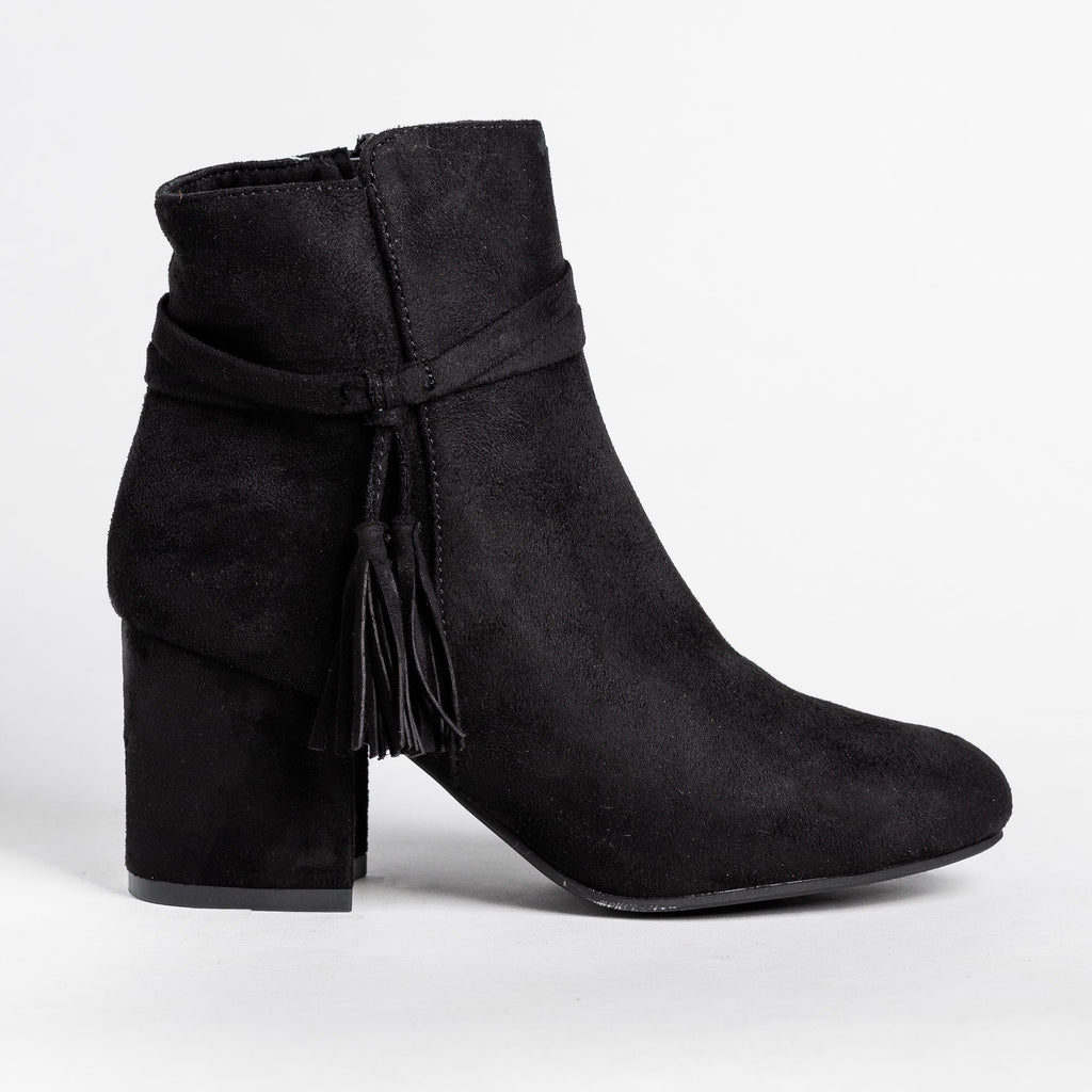 Womens Sassy Belted Tassel Booties - Refresh - Black / 5