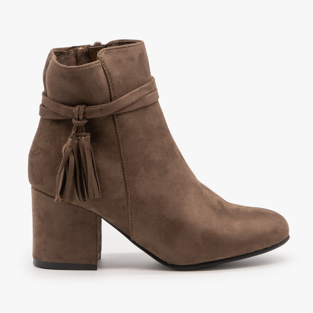 Womens Sassy Belted Tassel Booties - Refresh - Mocha / 5