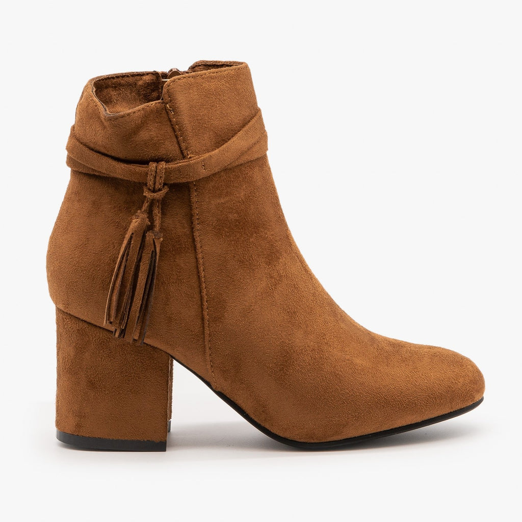 Womens Sassy Belted Tassel Booties - Refresh - Tan / 5