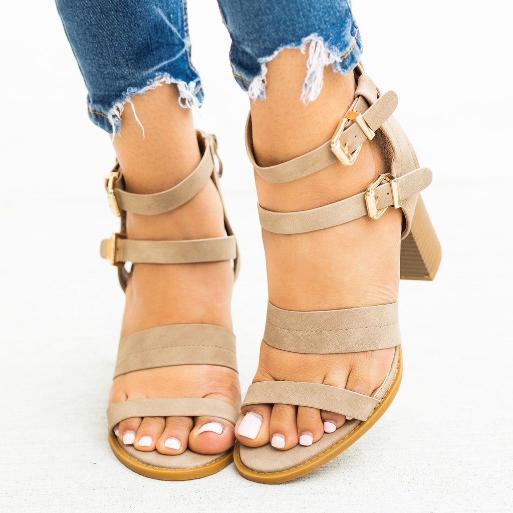 Womens Sassy Caged Buckled High Heels - Lovmark - Taupe / 5