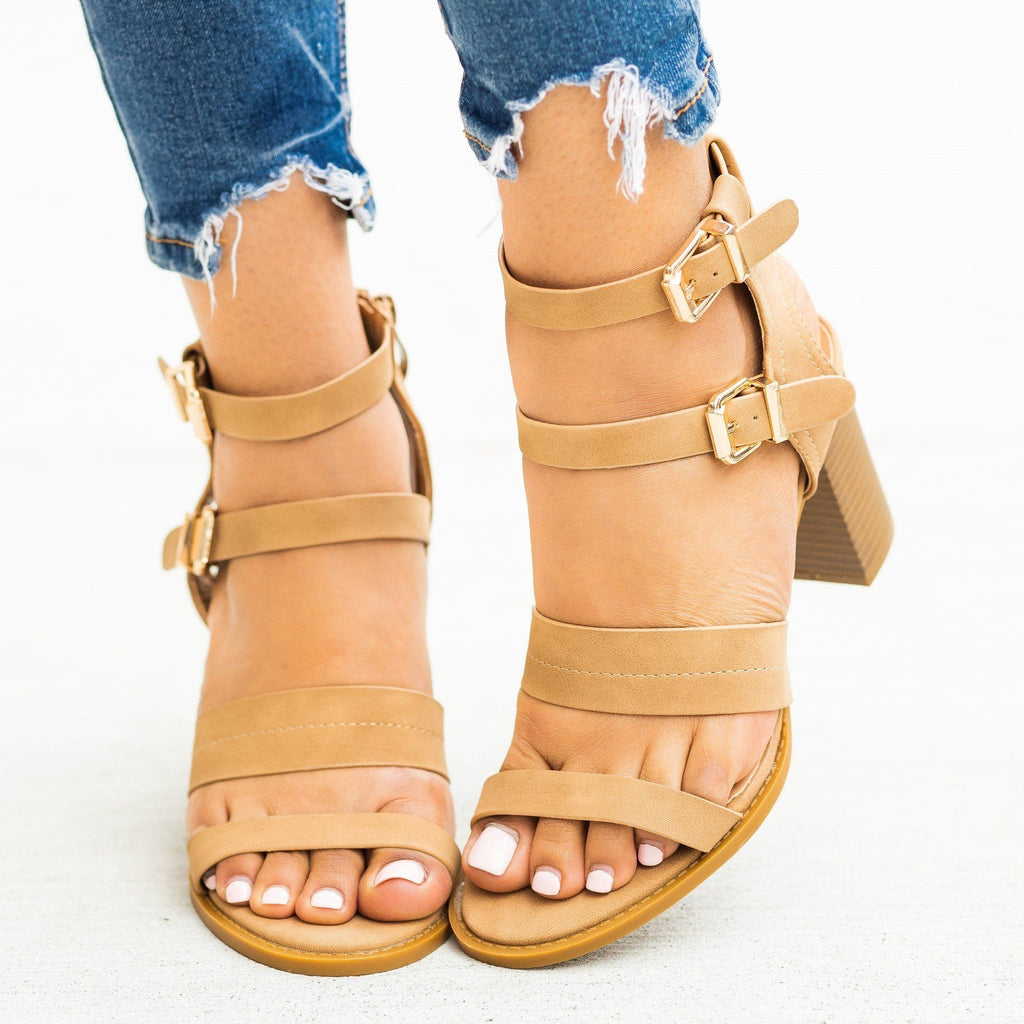 Womens Sassy Caged Buckled High Heels - Lovmark - Natural / 5