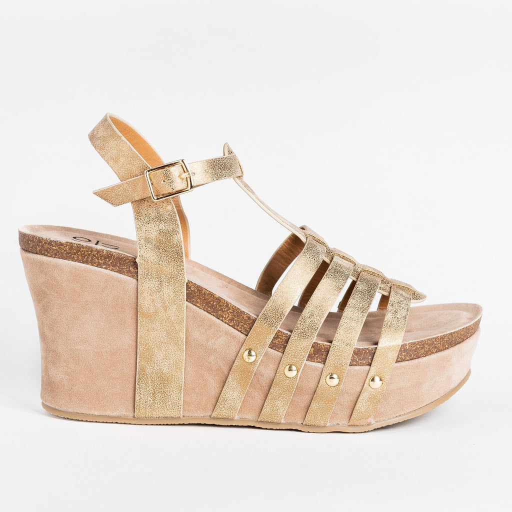 Womens Sassy Caged Platform Wedges - Yoki - Gold / 5