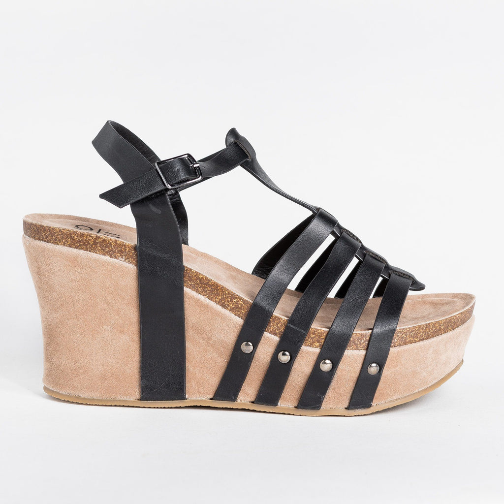 Womens Sassy Caged Platform Wedges - Yoki - Black / 5