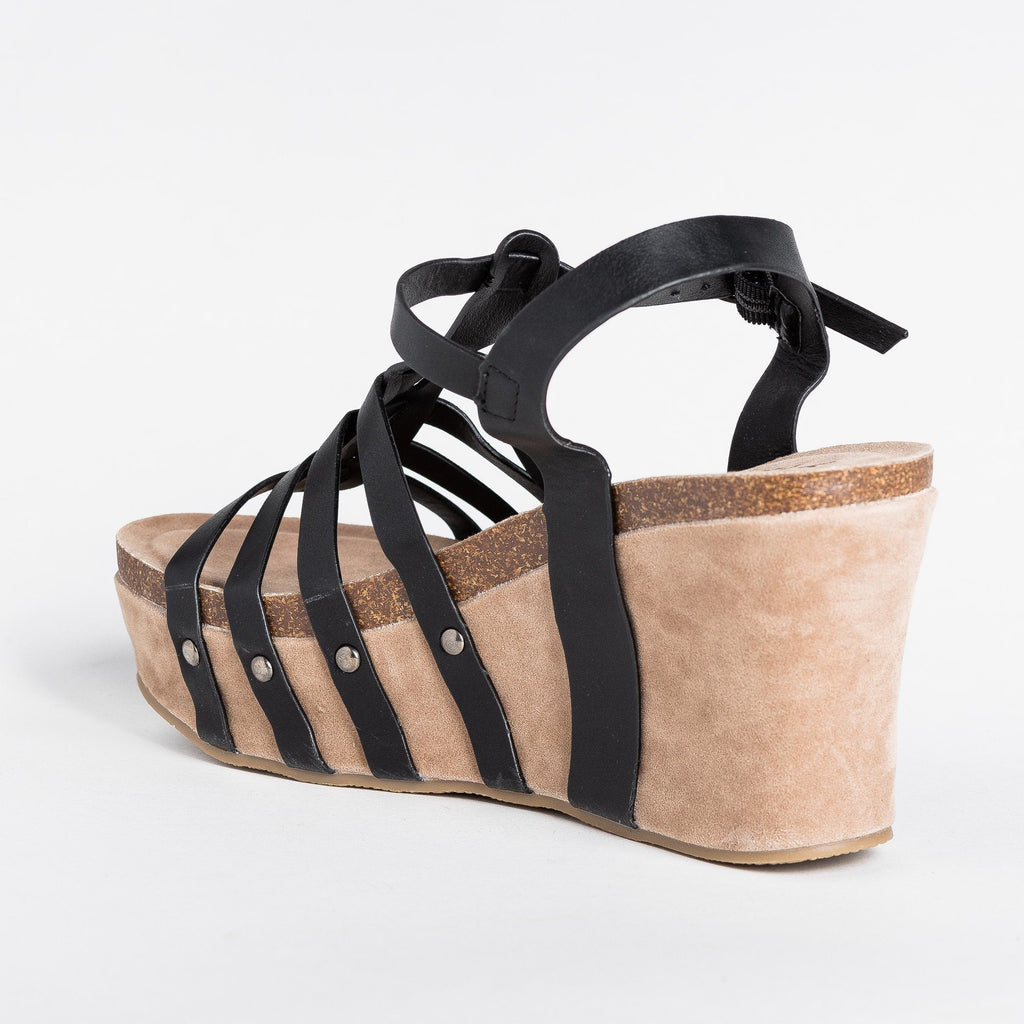 Womens Sassy Caged Platform Wedges - Yoki