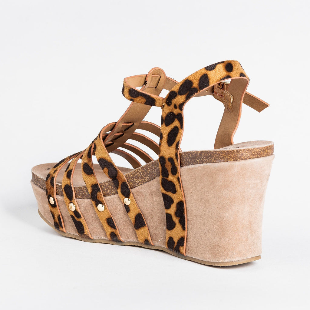 Womens Sassy Caged Platform Wedges - Yoki - Leopard / 5