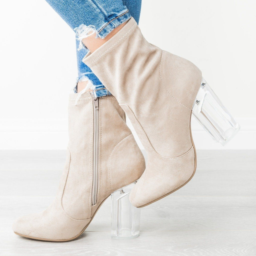 Womens Sassy Clear-Heeled Sock Boots - Speedlimit 98 Shoes