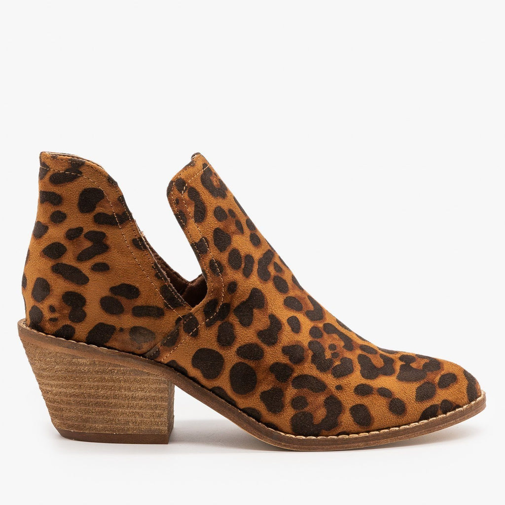 Womens Sassy Cutout Fashion Booties - Beast Shoes - Leopard / 5