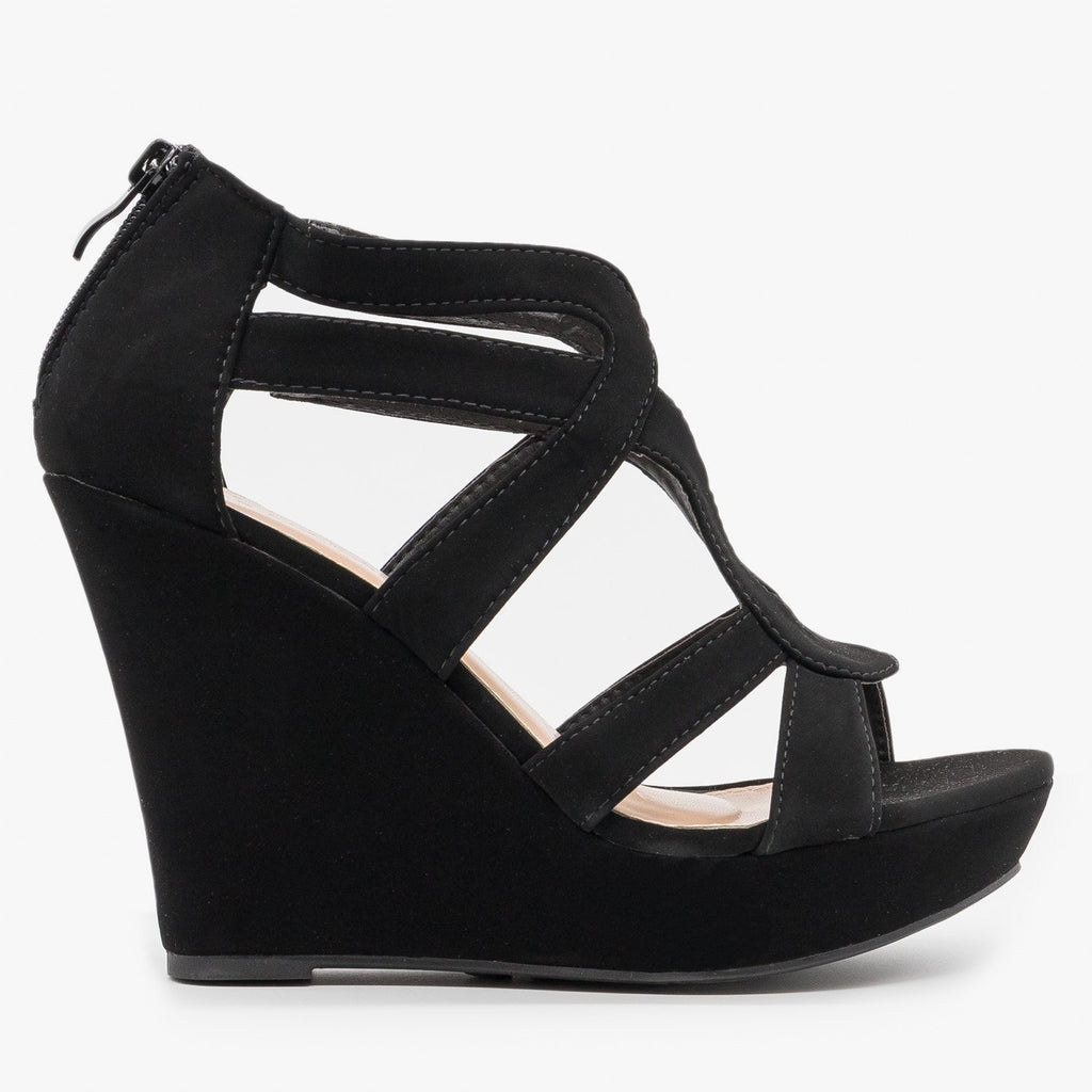 Womens Sassy Cutout Platform Wedges - Top Moda - Black / 5