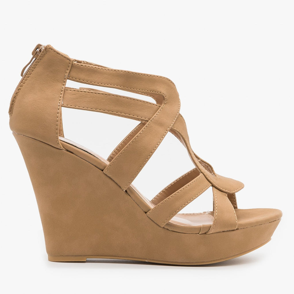 Womens Sassy Cutout Platform Wedges - Top Moda - Tan / 5