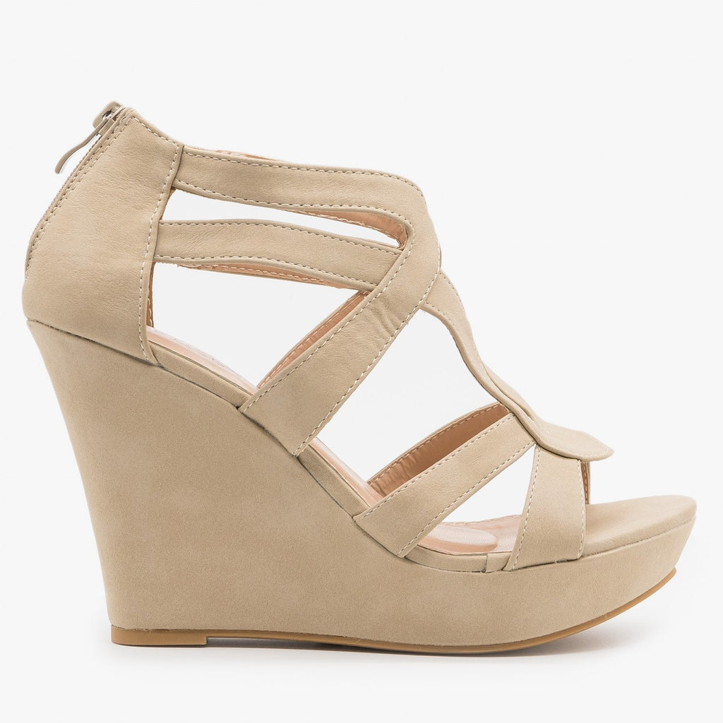 Womens Sassy Cutout Platform Wedges - Top Moda - Beige / 5
