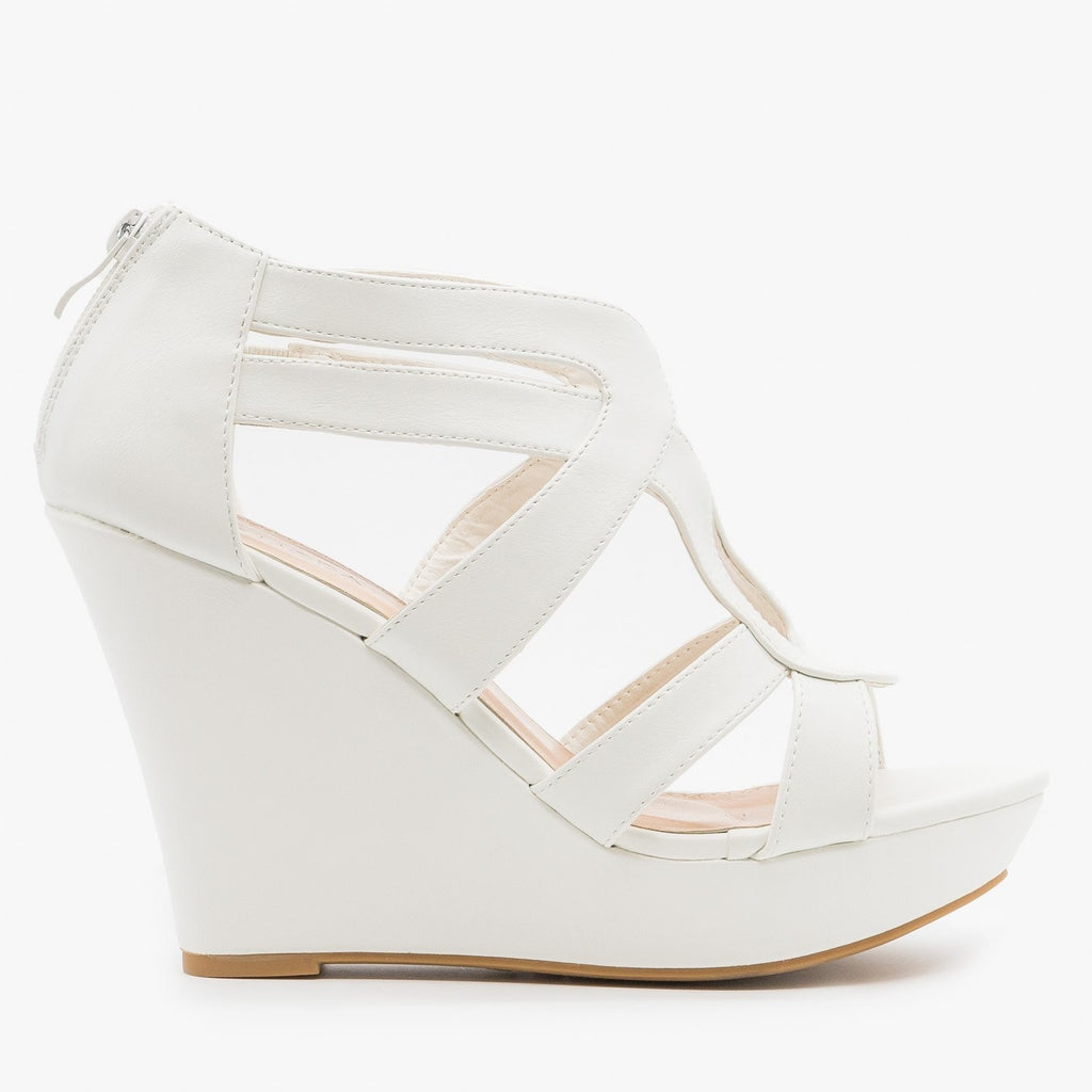 Womens Sassy Cutout Platform Wedges - Top Moda - White / 5