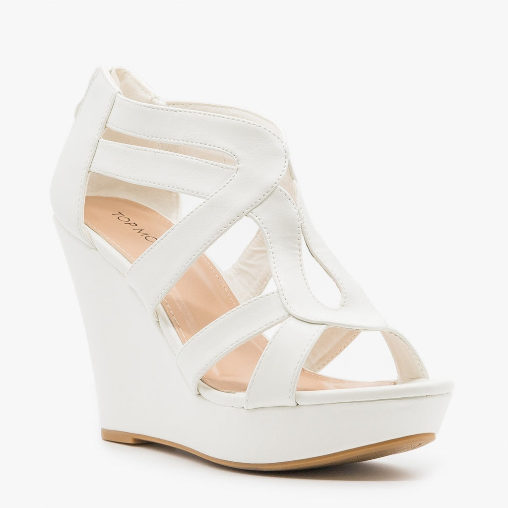 Womens Sassy Cutout Platform Wedges - Top Moda