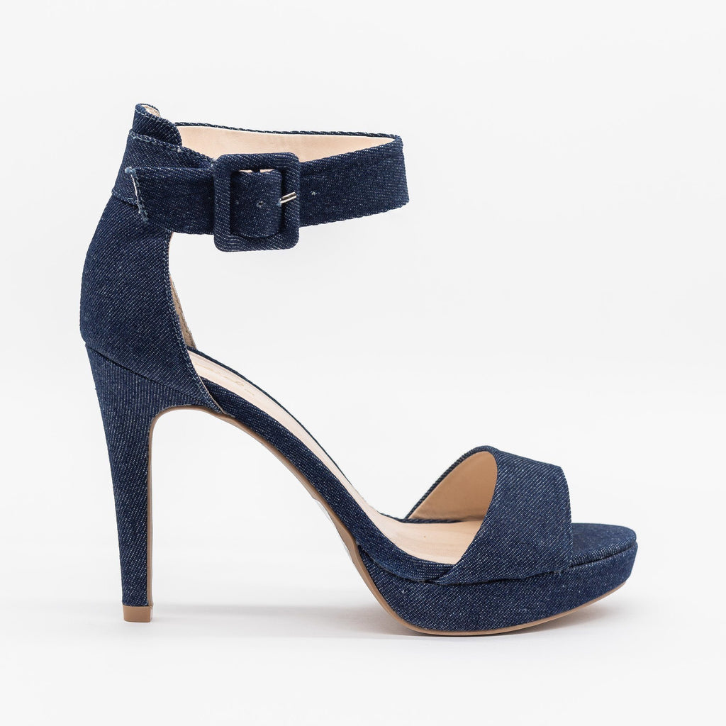 Womens Sassy Denim High Heels - Qupid Shoes - Blue Denim / 5