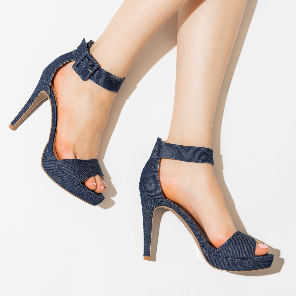 Womens Sassy Denim High Heels - Qupid Shoes