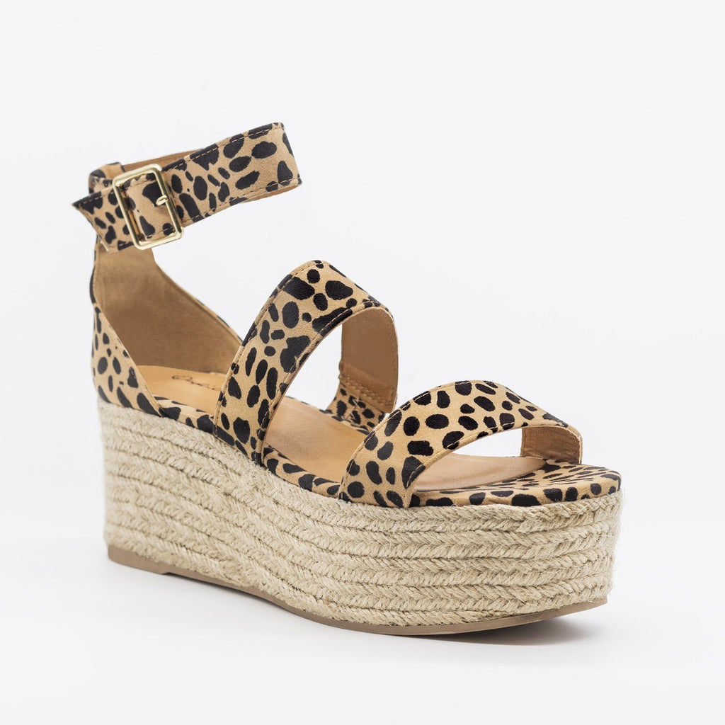 Womens Sassy Espadrille Flatform Sandals - Qupid Shoes - Tan Leopard / 5
