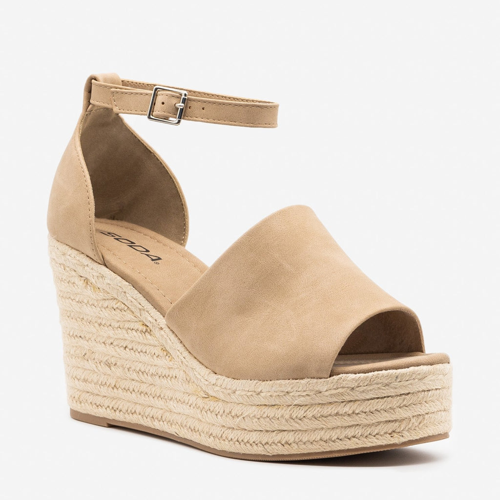 Women's Sassy Espadrille Platform Fashion Wedges - Soda Shoes
