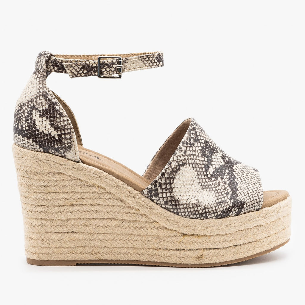 Womens Sassy Espadrille Platform Fashion Wedges - Soda Shoes - Cream Snake / 5