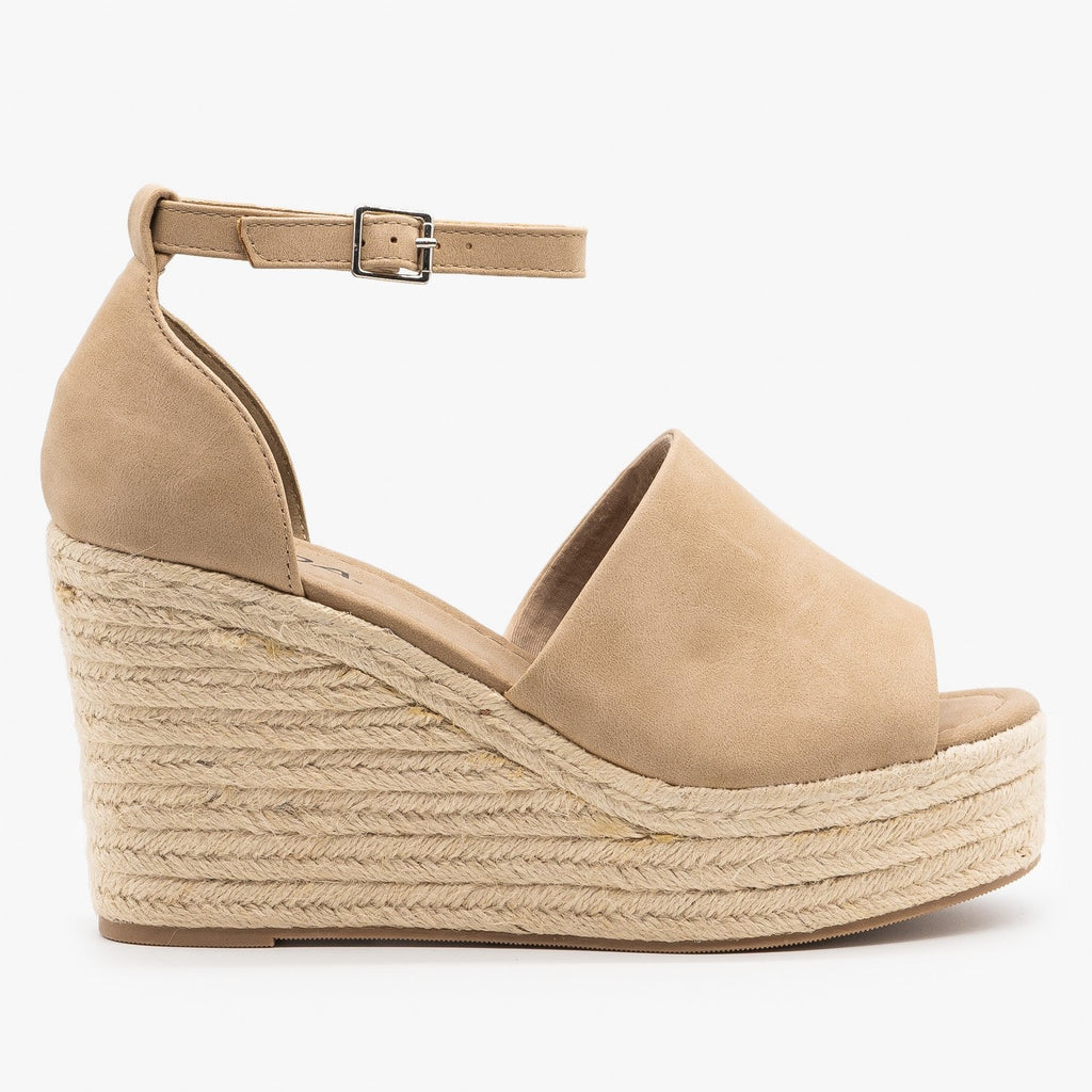Womens Sassy Espadrille Platform Fashion Wedges - Soda Shoes - Taupe / 5