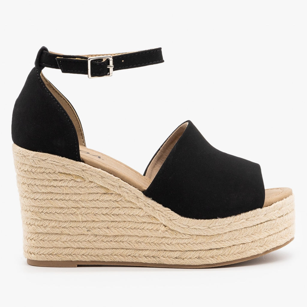 Womens Sassy Espadrille Platform Fashion Wedges - Soda Shoes - Black / 5