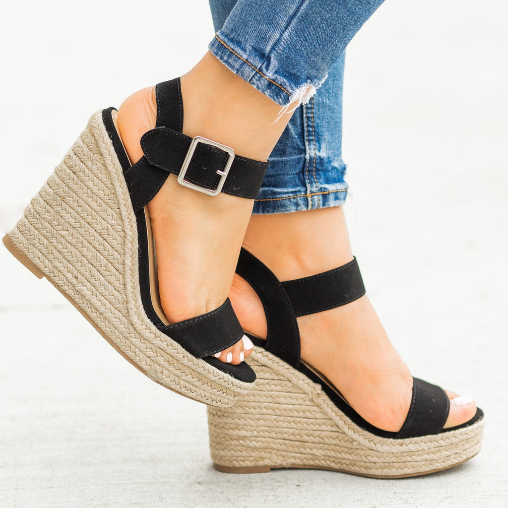 Womens Sassy Espadrille Sandal Wedges - Delicious Shoes - Black / 5