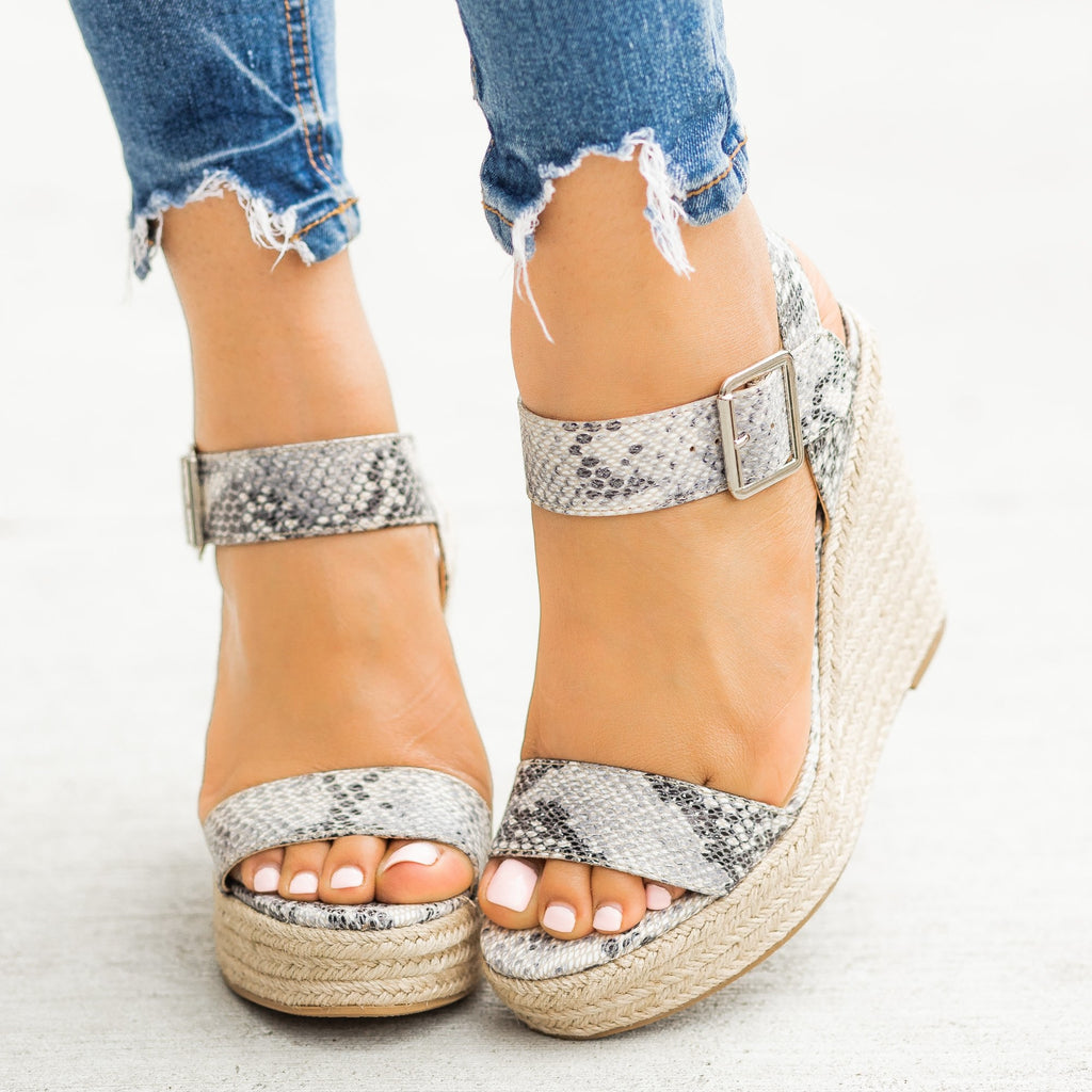 Womens Sassy Espadrille Sandal Wedges - Delicious Shoes - Beige Python / 5