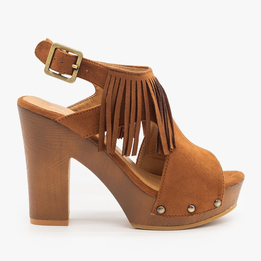 Womens Sassy Fringe Chunky Heels - City Classified Shoes - Cognac / 5