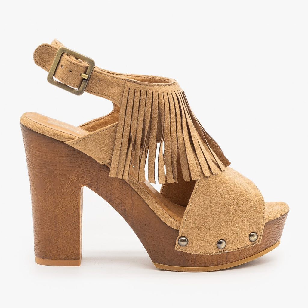 Womens Sassy Fringe Chunky Heels - City Classified Shoes - Natural / 5