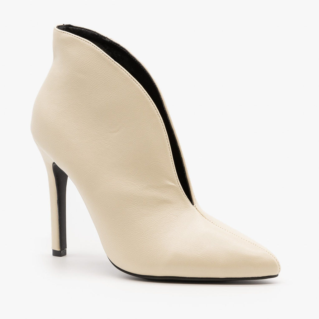 Womens Sassy Front Slit Booties - Anne Michelle - Ivory / 5