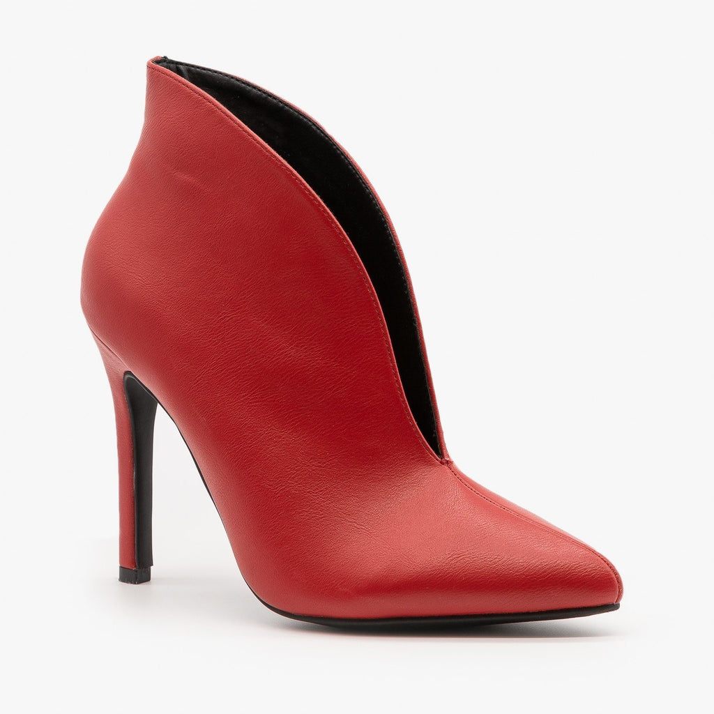 Womens Sassy Front Slit Booties - Anne Michelle - Red / 5