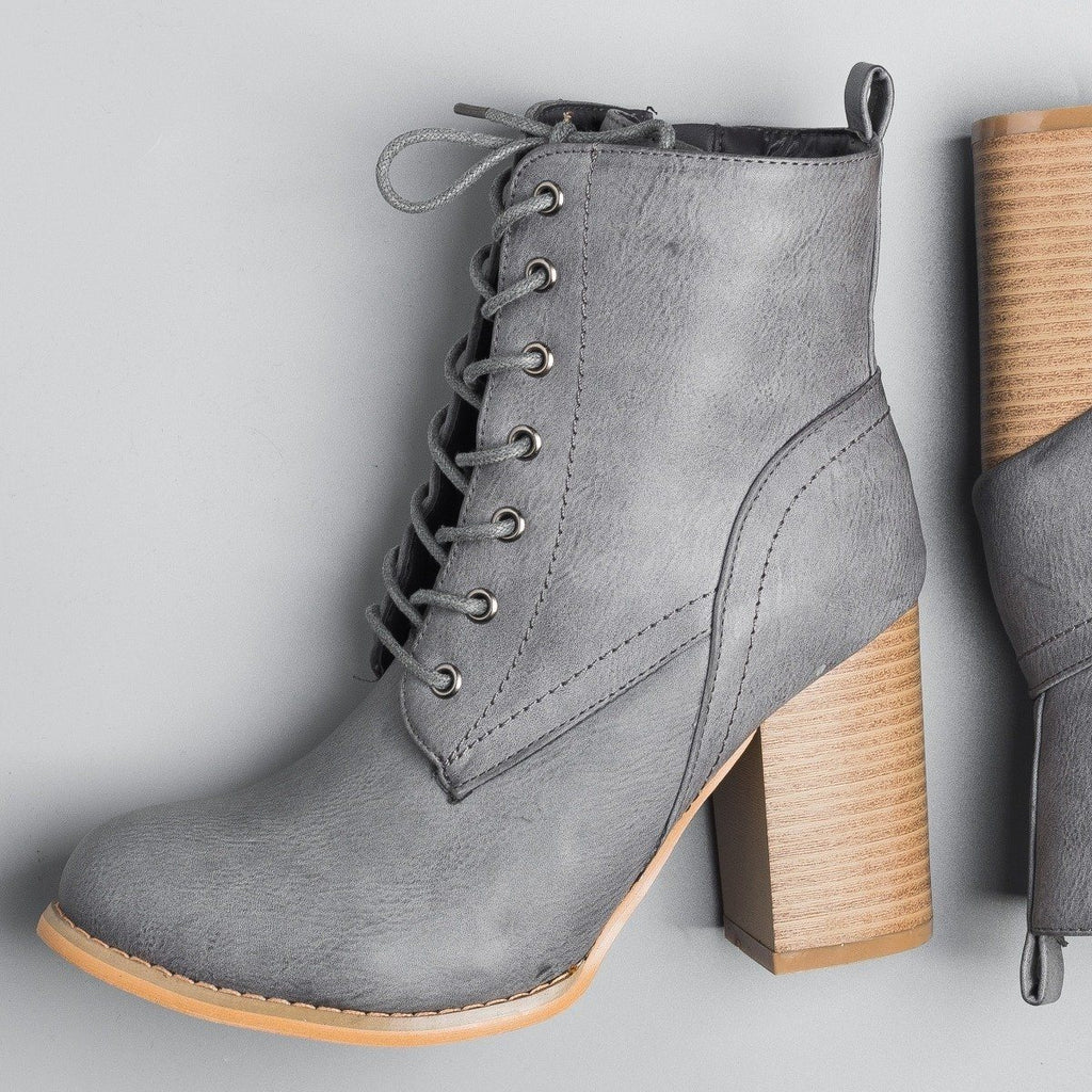 Womens Sassy Lace-Up Booties - Glaze - Gray / 5