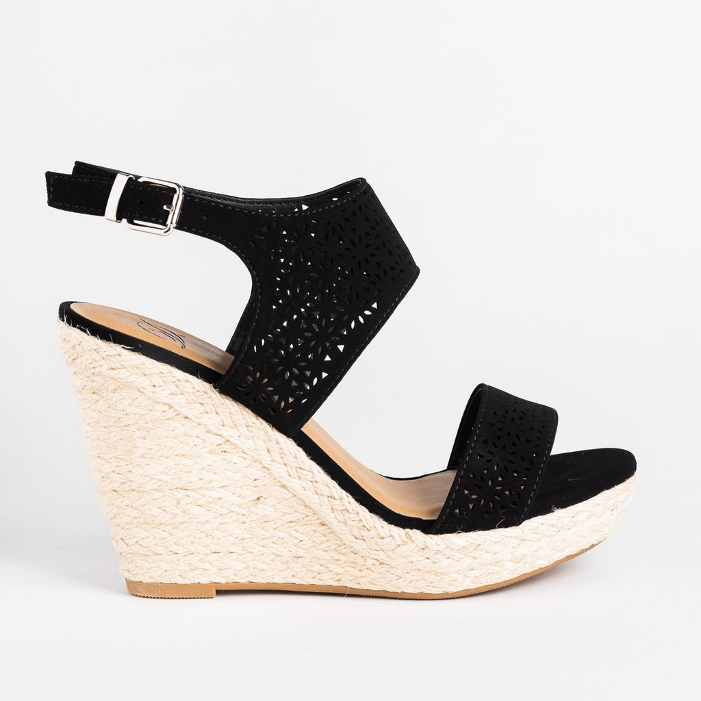 Womens Sassy Laser Cut Espadrille Wedges - Delicious Shoes - Black / 5
