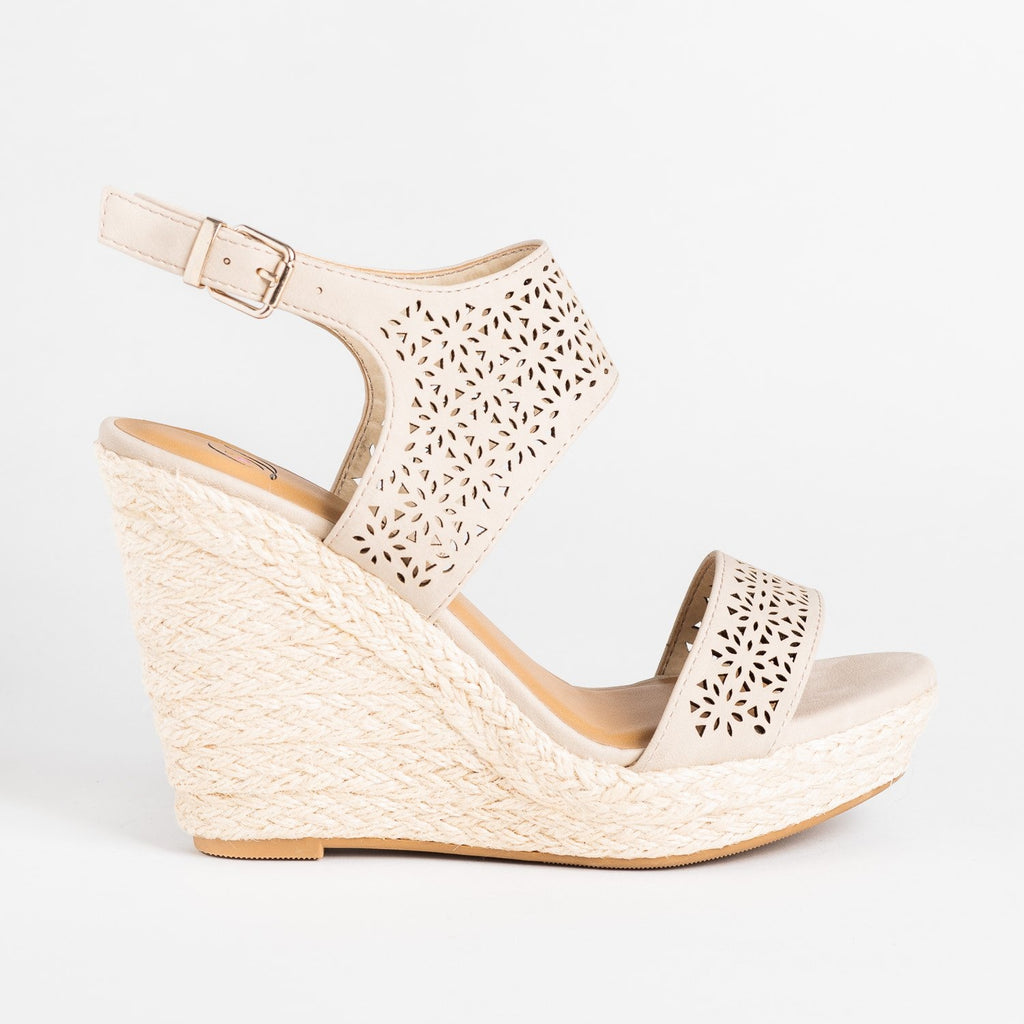 Womens Sassy Laser Cut Espadrille Wedges - Delicious Shoes - Light Taupe / 5
