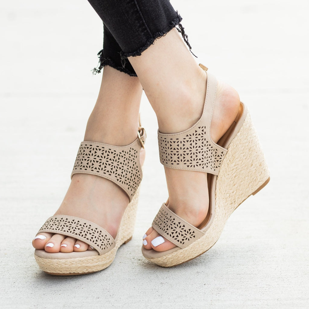 Womens Sassy Laser Cut Espadrille Wedges - Delicious Shoes