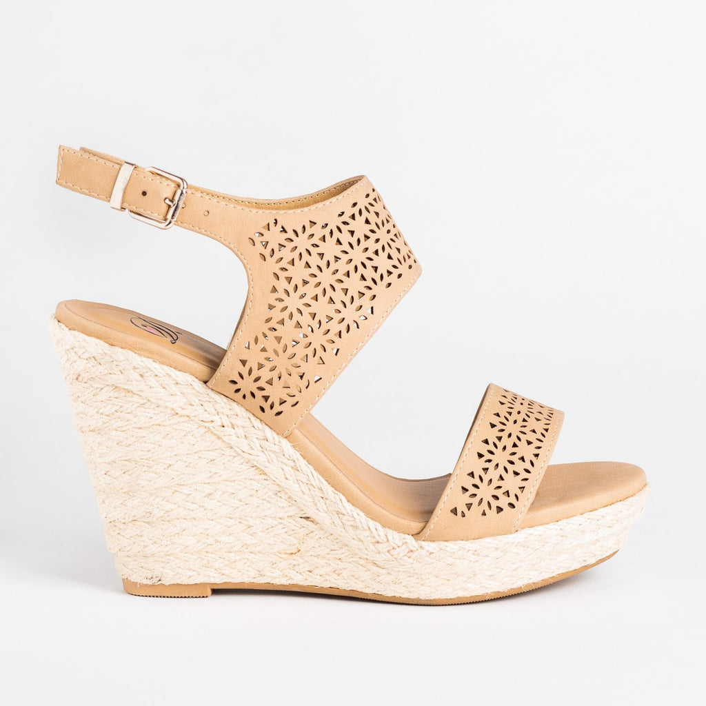 Womens Sassy Laser Cut Espadrille Wedges - Delicious Shoes - Natural / 5